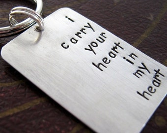 Men's hand stamped keychain - I carry your heart - Anniversary Key chain - Valentine's Day