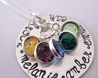 Colors of Love hand stamped necklace - birthstone necklace - mommy necklace