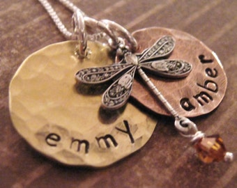 Earthy Baby hand stamped mother's necklace - dragonfly charm necklace - hand stamped necklace