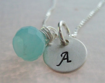 Initial Necklace - Gemstone Necklace
