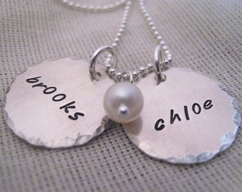Mothers Necklace Edges Two hand stamped personalized  necklace