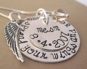 Remembrance angel wing hand stamped necklace