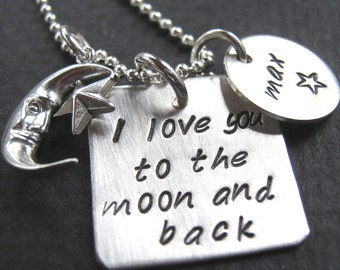 Moon and Back handstamped mothers necklace - Mommy necklace -  personalized jewelry