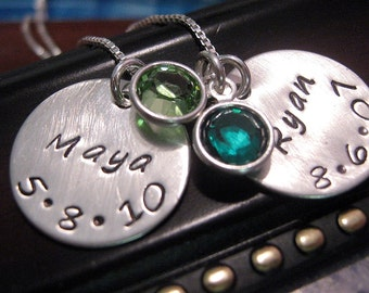 Hand Stamped Jewelry - - Birthstone mothers necklace for Two - Mom Necklace - Personalized Necklace - Name Necklace - Grandma Necklace