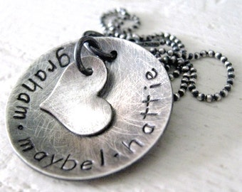 Mommy Necklace - Antiqued Love hand stamped necklace - personalized necklace