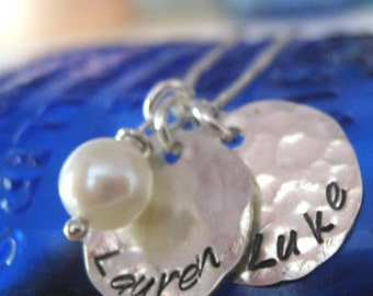 Hand Stamped Mommy Necklace - Two Loves - personalized mothers necklace with pearl