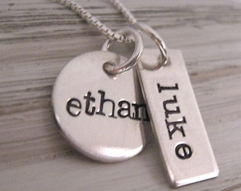 Two a hand stamped necklace - Mother's Necklace - Personalized Jewelry