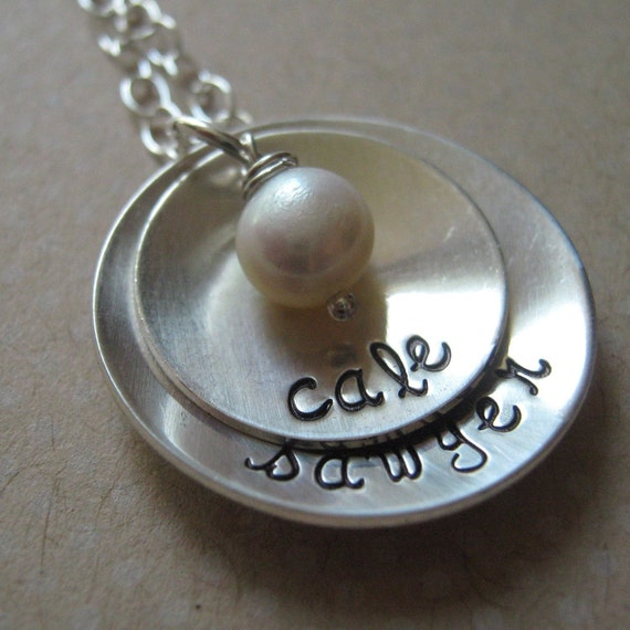 Simplicity hand stamped mothers necklace - mom jewelry - personalized necklace - gift for mom - name necklace