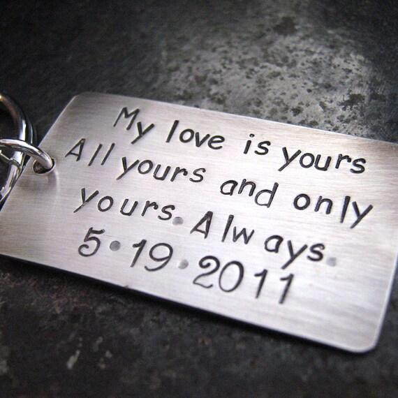 My Love Keychain - Wedding Keepsake - Groom Gift - Aniversary Keychain