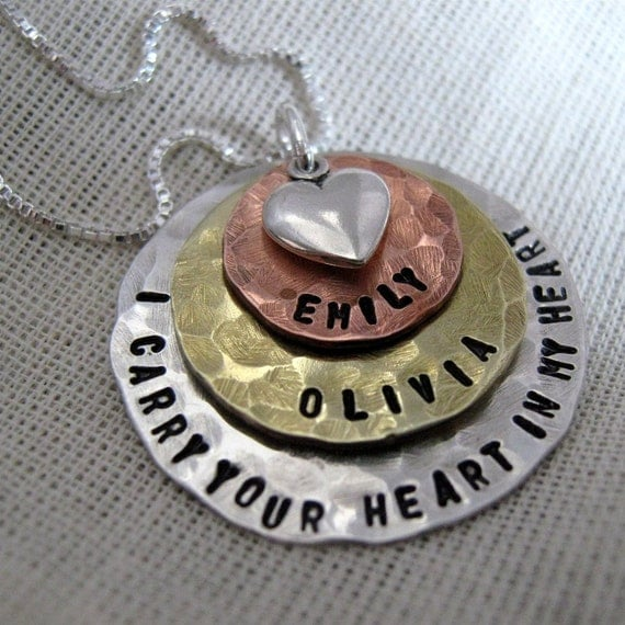 Hand Stamped Mommy Necklace I Carry Your Heart Mixed Stack Mother's Necklace