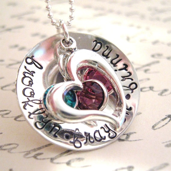 Hand Stamped Necklace - Elegant Family Birthstone Necklace -  personalized mothers necklace - mommy jewelry