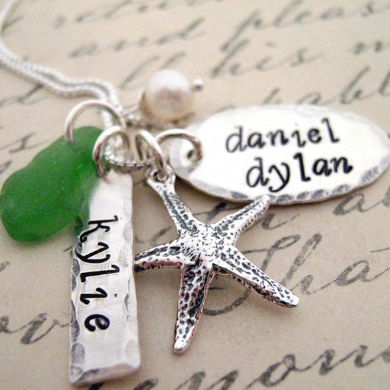 Starf Fish Mothers  Necklace -Hand Stamped Star Fish  Necklace - Beach Necklace - Personalized Mothers Necklace