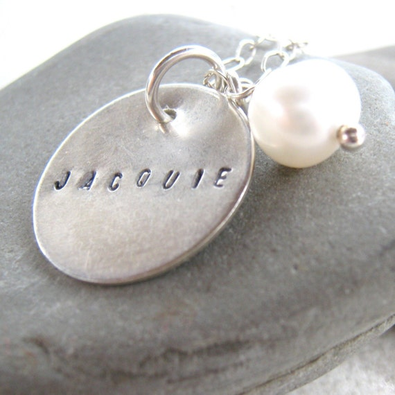 Stamped For One personalized name necklace with freshwater pearl