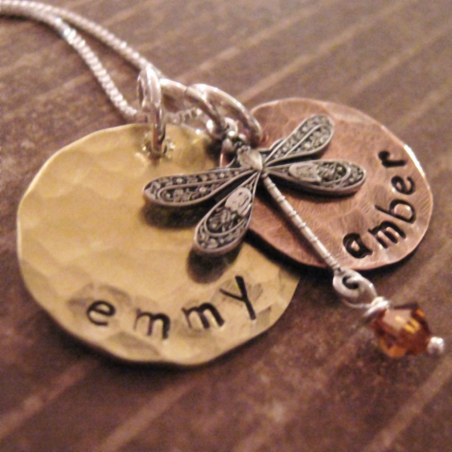 Earthy baby hand stamped mother 39 s necklace dragonfly for How do you make hand stamped jewelry