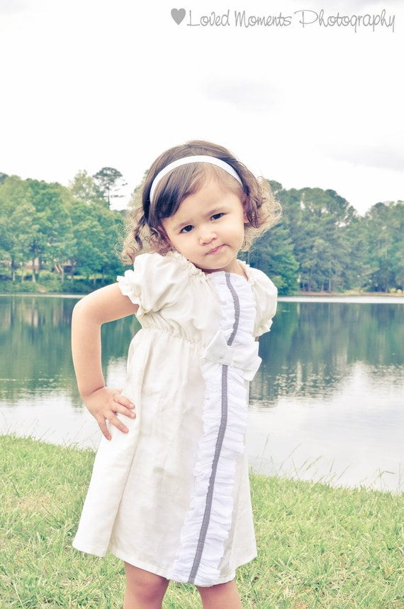 Baptism dress, BOW BLOSSOM, white, ivory, platinum custom newborn to 6 peasant boutique vintage inspired