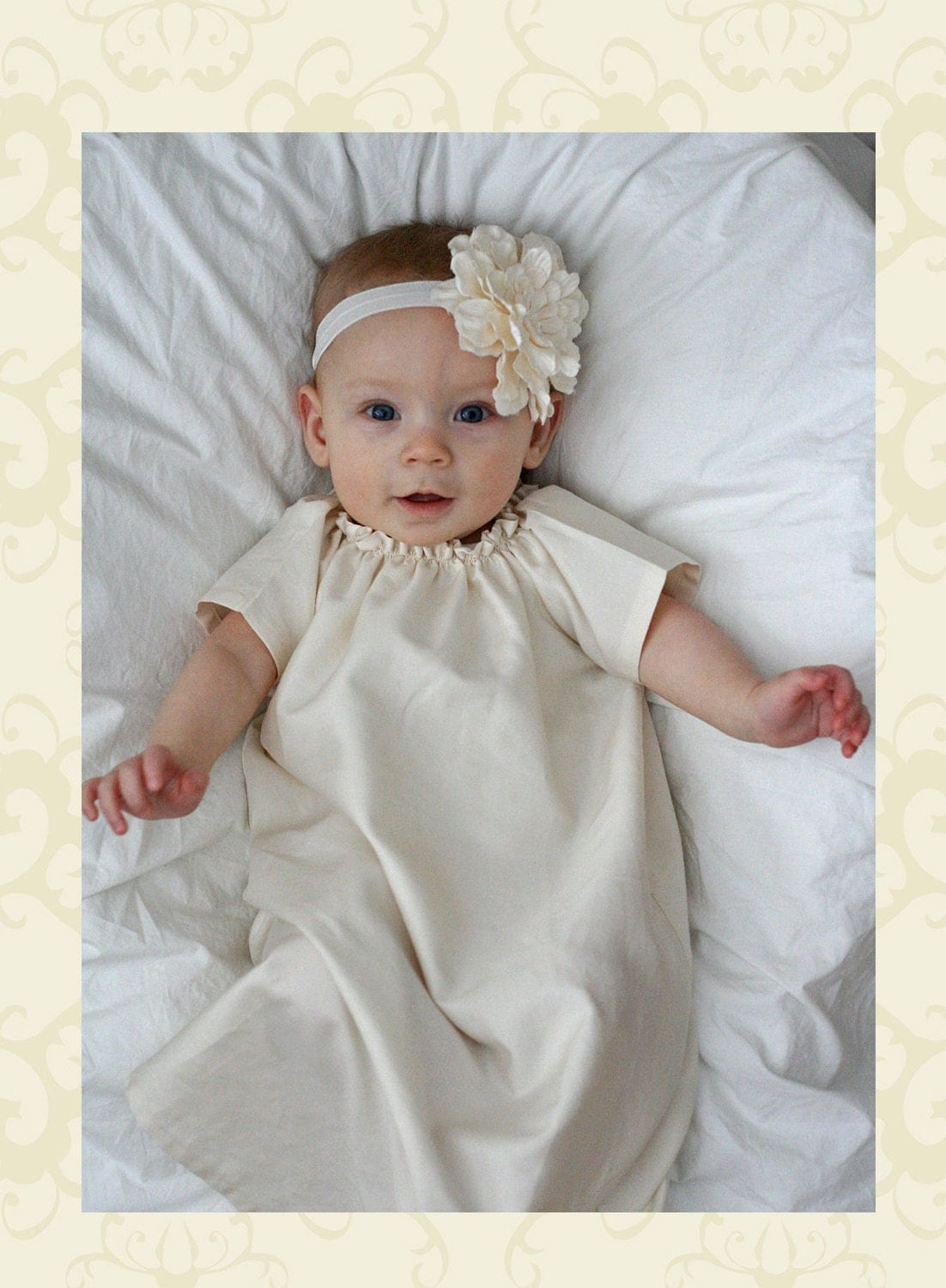 Antique Ivory Baby Baptism Dress Gown By Apricotsandlollipops