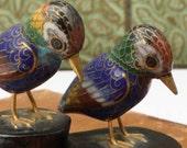 Vintage Chinese Cloisonne Bird Figurines