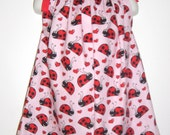 Ladybug and Hearts Pillowcase Dress custom made size 3m, 6m, 9m, 12m, 18m, 2T, 3T, 4T Larger sizes available