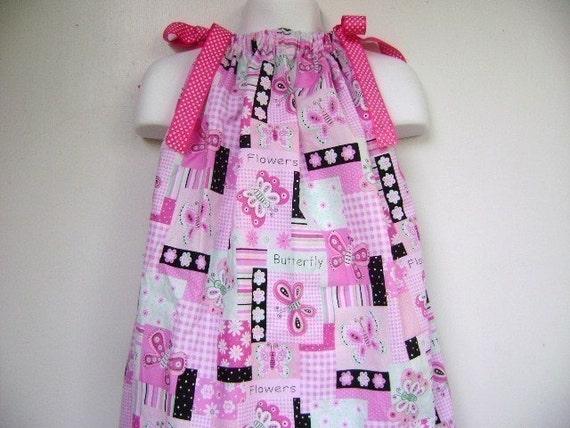 Pink butterfly pillowcase dress size 3m, 6m, 9m, 12m, 18m, 2T, 3T, 4T