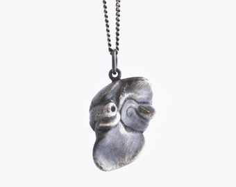 Liver necklace in solid sterling silver / organ / anatomy / anatomically correct