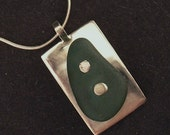 Nailed in Teal Beach Glass Pendant and Necklace