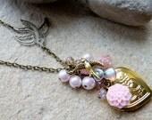 Locket Necklace Pink Vintage Style Love Heart SRAJD