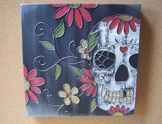 NEW TATTOO Inspired Sugar Skull Canvas by wallexpress on Etsy