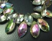 """Full 7"""" Strand--  Rainbow Mystic Quartz Faceted Marquiose Briolette--Size 10x5-14x7mm"""