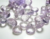 "Full Strand - Pink Amethyst Faceted Heart Briolette -7"" -Size 9-10mm"