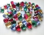 Multi Color Quartz Faceted Pear Briolette -size 9x6 mm