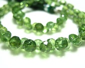 """FULL 7"""" Strand- AAA Rare Green Apatite Faceted Onion -Size 4-5mm"""