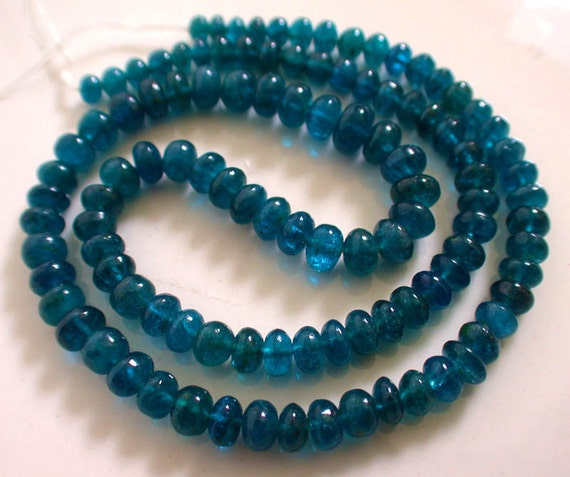 Blue Apatite Smooth Polished Roundelles --8 Inches--7mm