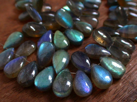 Huge--Extreme Blue Fire Labradorite Smooth Polished Long Pear Briolette Beads--21 mm long