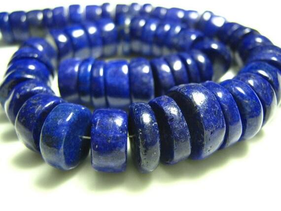 "Full Strand - Lapis Lazuli Smooth Big Wheels   - 8"""