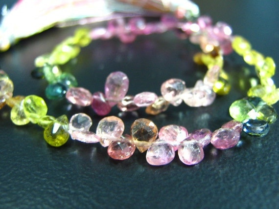 FULL Strand-  Multi Tourmaline Faceted Heart Briolette --8""