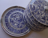 Blue Willow Mosaic Cake Plate and Dome Cover - RESERVED