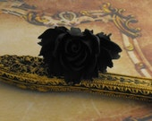 Black Rose Ring with Adjustable Antique Brass Band Flower Gold Vintage Style Jewellery
