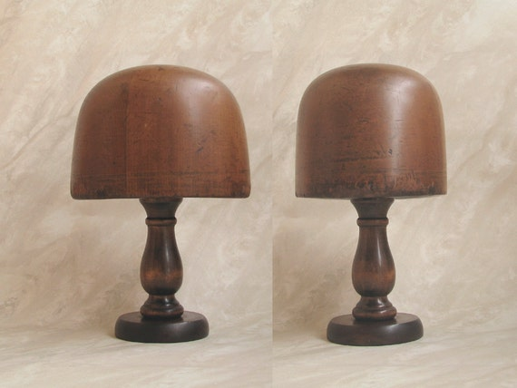 1930s HATTERS Wood HAT BLOCK Form Tool with Display Stand Millinery Mold