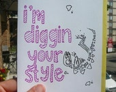 Dinosaur Love Card - Gocco - I'm Diggin Your Style from PaperMichelle