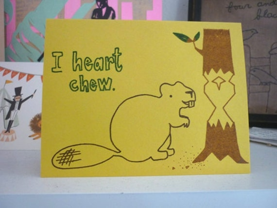 Beaver Love Card - Gocco - I Heart Chew from PaperMichelle