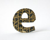 e brooch - gold and navy