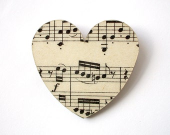 Vintage music paper heart brooch - large