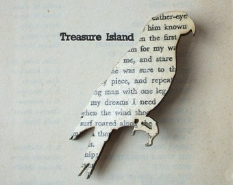 Treasure Island - Parrot brooch. Classic book brooches made with original pages.