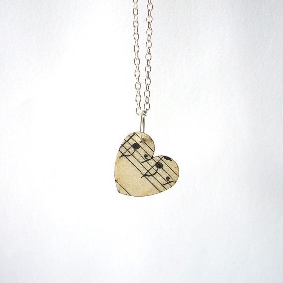 PRE ORDER - Vintage music paper heart necklace