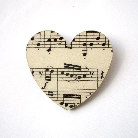 Vintage music paper heart brooch - large