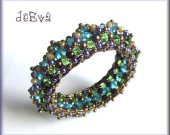 OOAK handmade beadwoven bangle green, bronze, purple, turquoise - K 61 - Kahleen