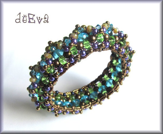 OOAK handmade beadwoven bangle green, bronze, purple, turquoise - K 61 - Kahleen