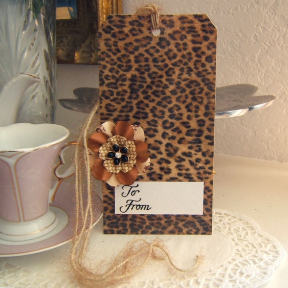CLEARANCE  large leopard print gift tag