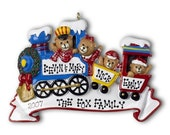 CHOO CHOO TRAIN Family of 4 Personalized Ornament with Gift Bag