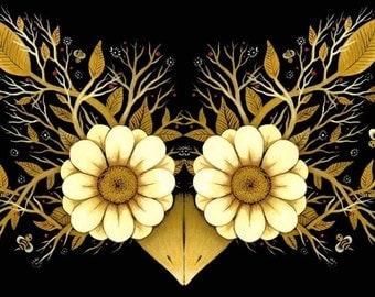Floral Owl Print